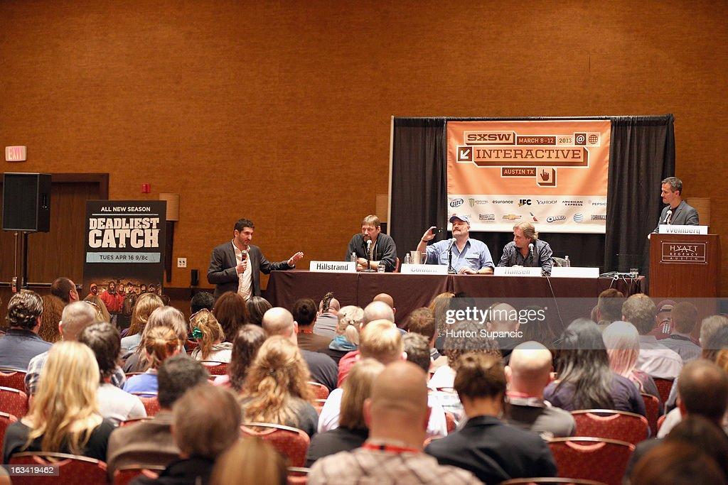 Discovery Channel's David Pritikin, TV personalities Jonathan Hillstrand, Keith Colburn and Sig Hansen and Discovery Channel's Josh Weinberg speak onstage at Deadliest Catch's Twitter For Tough Guys during the 2013 SXSW Music, Film + Interactive Festival at Hyatt Regency Austin on March 9, 2013 in Austin, Texas.