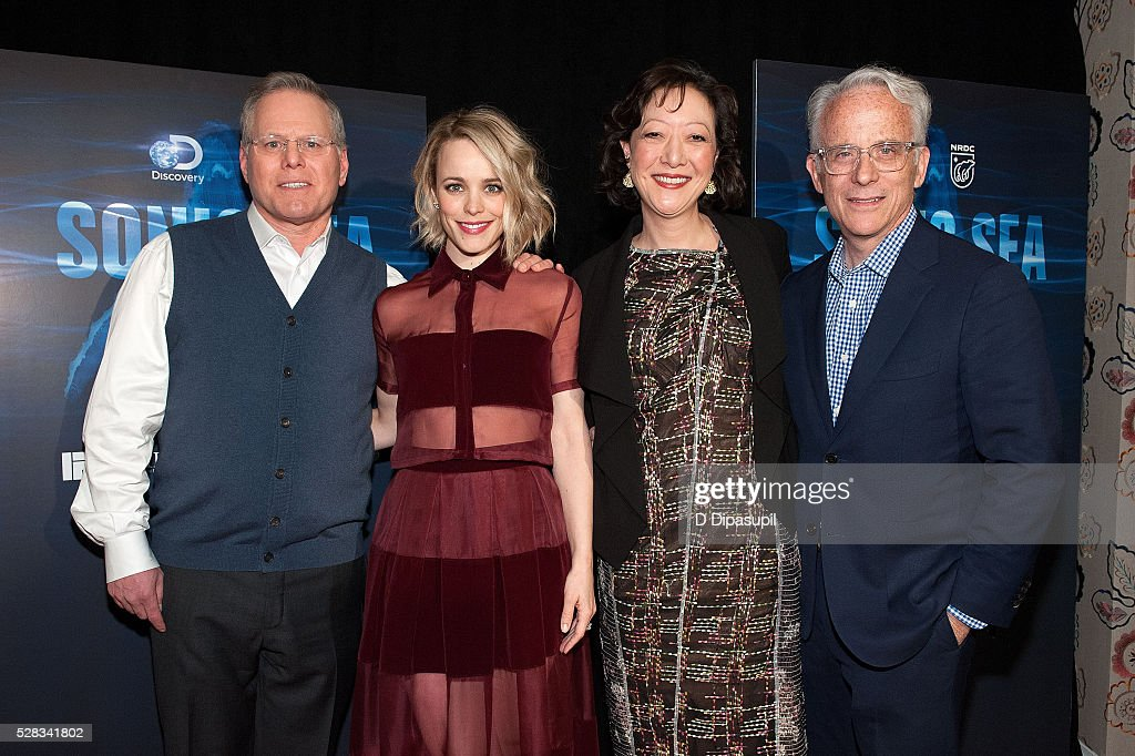 Discovery Communications president and CEO <a gi-track='captionPersonalityLinkClicked' href=/galleries/search?phrase=David+Zaslav&family=editorial&specificpeople=4192819 ng-click='$event.stopPropagation()'>David Zaslav</a>, <a gi-track='captionPersonalityLinkClicked' href=/galleries/search?phrase=Rachel+McAdams&family=editorial&specificpeople=212942 ng-click='$event.stopPropagation()'>Rachel McAdams</a>, Natural Resources Defense Council president Rhea Suh, and Discovery Channel executive vice president John Hoffman attend the 'Sonic Sea' New York screening at the Crosby Hotel on May 4, 2016 in New York City.