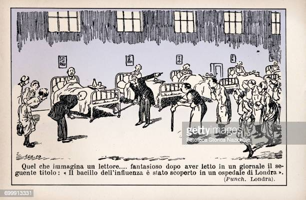Discovery of influenza bacillus or Spanish Flu Humorous cartoon published in the Italian press taken from the English humorous magazine 'Punch'...