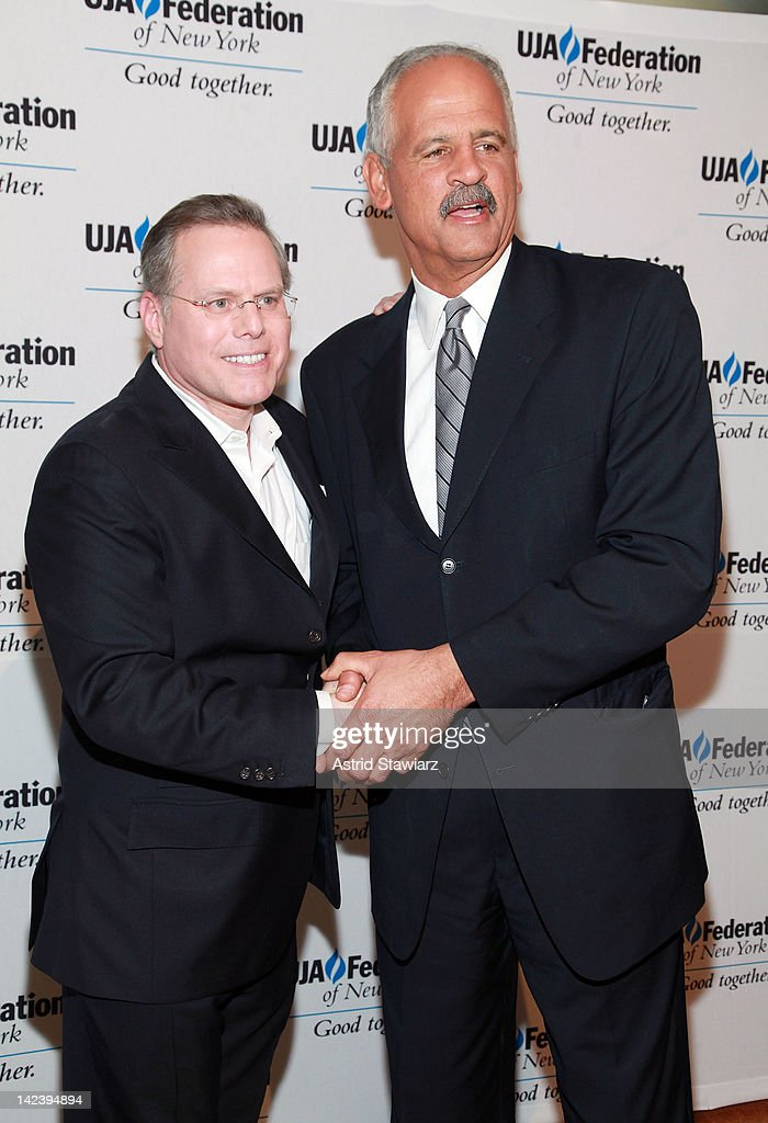 Discovery President <a gi-track='captionPersonalityLinkClicked' href=/galleries/search?phrase=David+Zaslav&family=editorial&specificpeople=4192819 ng-click='$event.stopPropagation()'>David Zaslav</a> and <a gi-track='captionPersonalityLinkClicked' href=/galleries/search?phrase=Stedman+Graham&family=editorial&specificpeople=768636 ng-click='$event.stopPropagation()'>Stedman Graham</a> attend the 2012 UJA-Federation Of New York's Leadership Awards Dinner at 583 Park Avenue on April 3, 2012 in New York City.