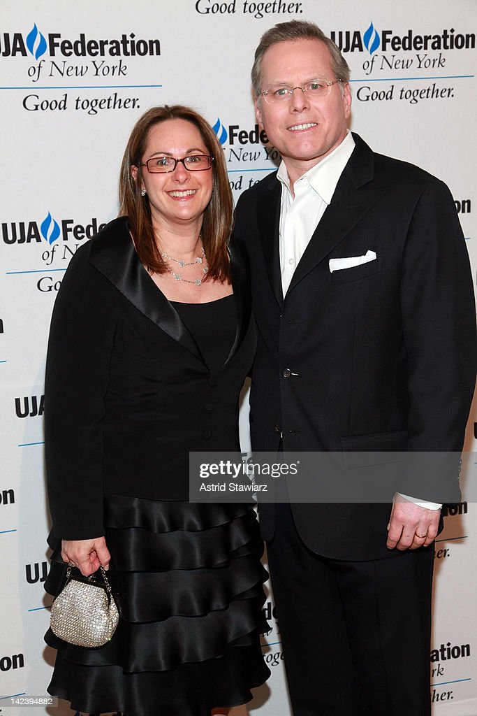 Discovery President <a gi-track='captionPersonalityLinkClicked' href=/galleries/search?phrase=David+Zaslav&family=editorial&specificpeople=4192819 ng-click='$event.stopPropagation()'>David Zaslav</a> (right) and wife Pam Zaslav attend the 2012 UJA-Federation Of New York's Leadership Awards Dinner at 583 Park Avenue on April 3, 2012 in New York City.