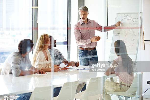 Discussing business strategy with his team