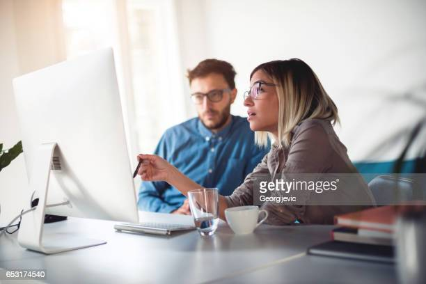 Discussing work in the office