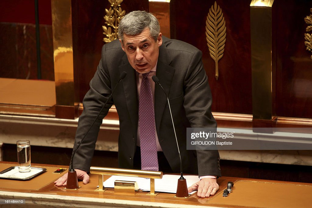Discussion at the French National Assembly for the vote of law for gay marriage <a gi-track='captionPersonalityLinkClicked' href=/galleries/search?phrase=Henri+Guaino&family=editorial&specificpeople=4206004 ng-click='$event.stopPropagation()'>Henri Guaino</a> on January 30,2013.