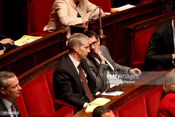 Discussion at the French National Assembly for the vote of law for gay marriage Benoist Apparu and Franck Riester from UMP but for the project on...
