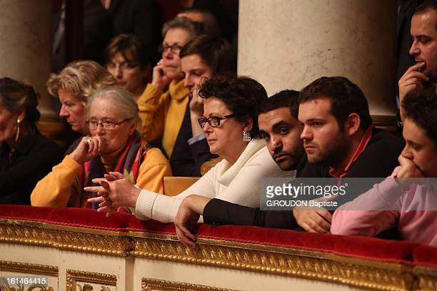 Discussion at the French National Assembly for the vote of law for gay marriage Christine Boutin in the public gallery on January 292013