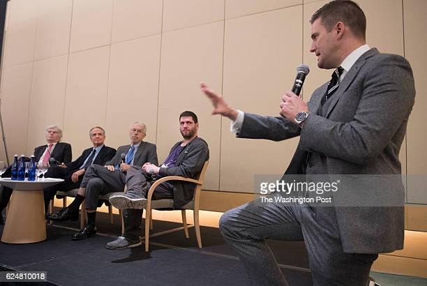 Discussion panelists Peter Brimelow Jared Taylor Kevin MacDonald 'Millenial Woes' and Richard Spencer field questions at an Alt Right conference...