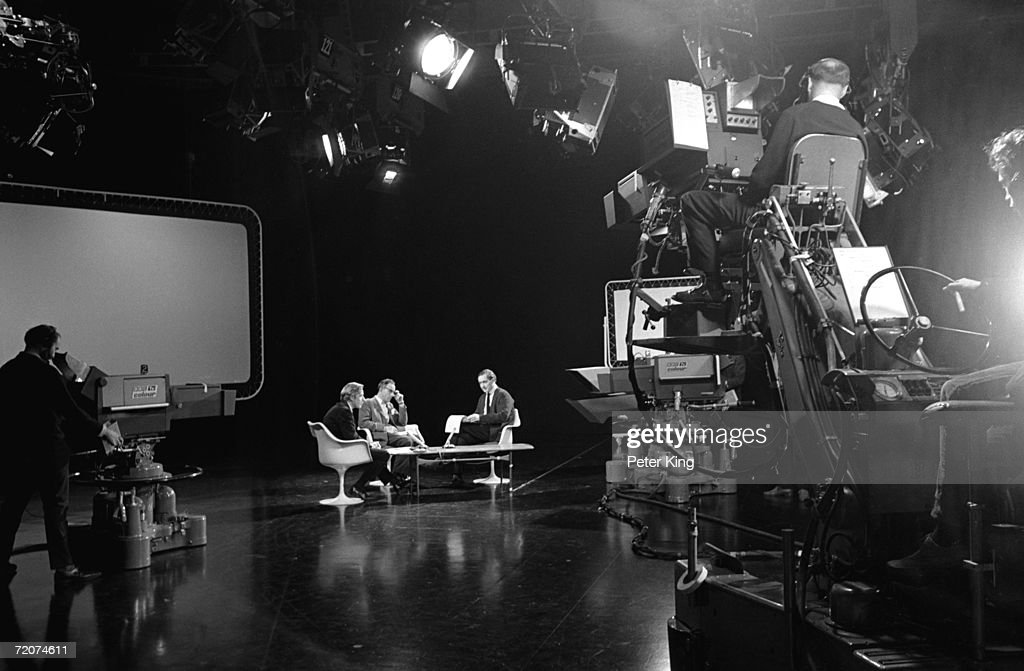 A discussion programme being filmed at the BBC Television Centre in White City, London, October 1967.