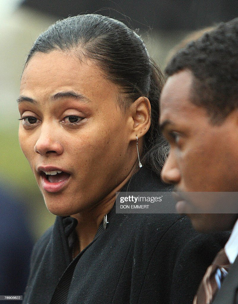 Disgraced former track star Marion Jones leaves Federal Court after sentencing 11 January 2008 in White Plains, New York, accompanied by husband Obadele Thompson (R). Jones was sentenced to six months in prison for lying about taking steroids in a doping scandal that cost the sprinter her Olympic medals. Jones had admitted she lied to federal investigators about being a dope cheat and about her role in a check fraud scheme.