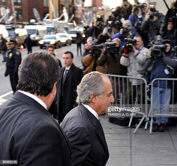 Disgraced Wall Street financier Bernard Madoff arrives at a US Federal Court on March 12 2009 in New York Pleading guilty to all 11 counts of fraud...