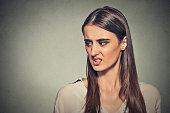 Disgusted displeased woman