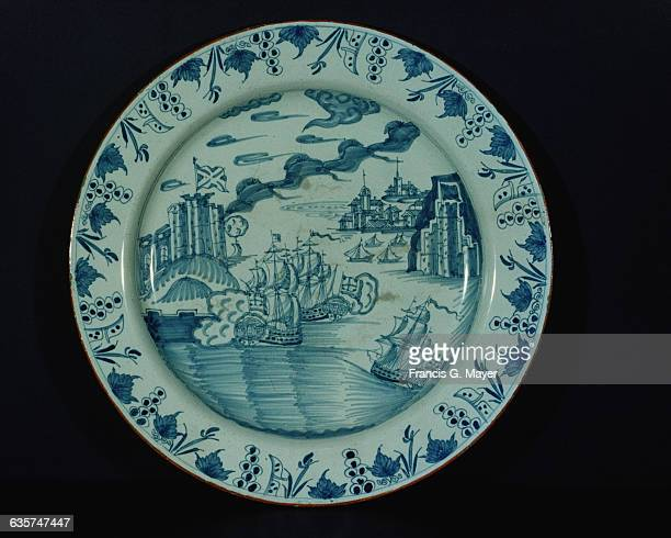 Dish Capture of Charge at Panama by Adm Vernon 1740 Blue on White Floral Border Delftware about 1745