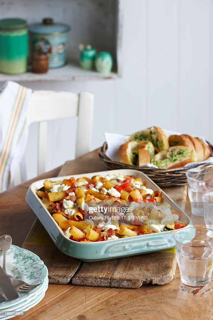 Dish of bacon pasta bake : Stock Photo