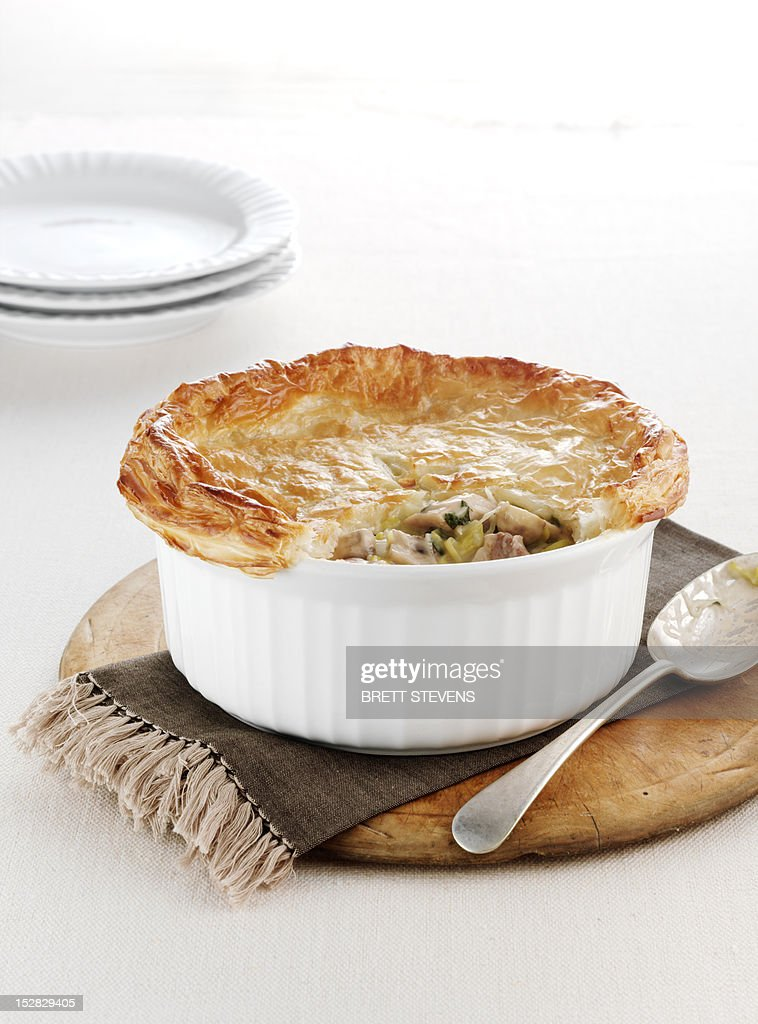 Dish of baked chicken pie