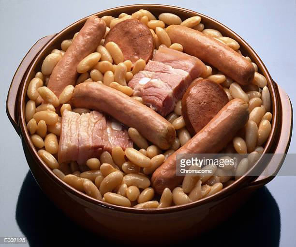 Dish of beans, sausages and assorted meat (cassoulet)