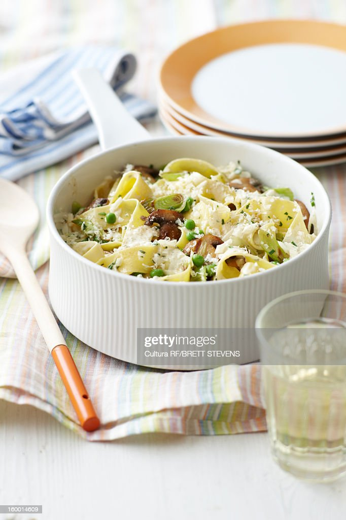 Dish of creamy vegetable pasta : Stock Photo