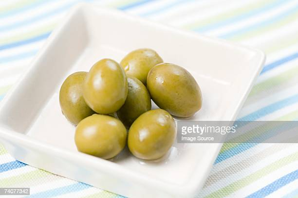 Dish of green olives