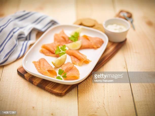 Dish of hand reared Scottish smoked salmon
