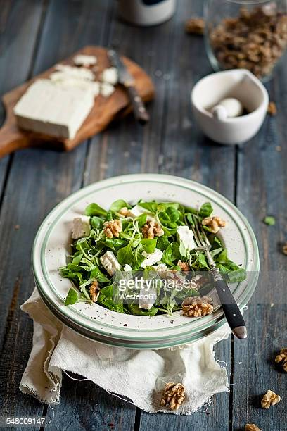 Dish of lambs lettuce, Valerianella locusta, with walnuts and feta