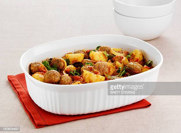 Dish of meatball and potatoes