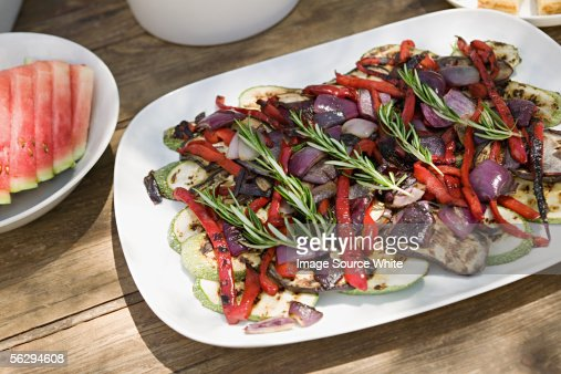 Dish of mediterranean vegetables : Stock Photo