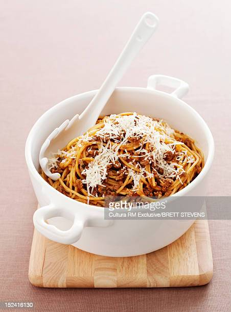 Dish of pasta with sauce and cheese