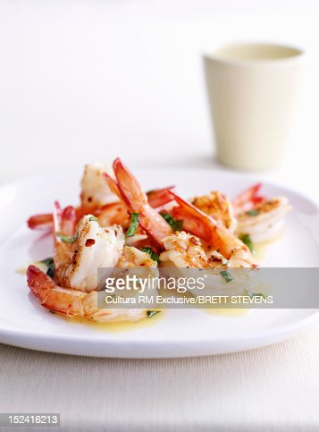 Dish of prawns and herbs