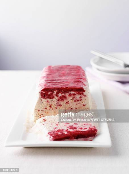 Dish of raspberry ice cream cake