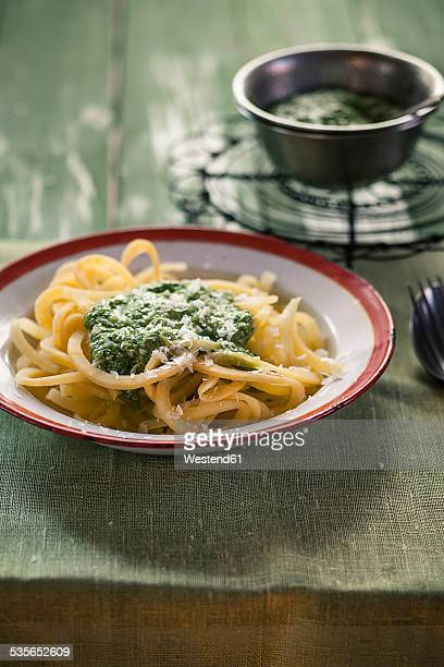 Dish of rutabaga noodles with fresh homemade pesto