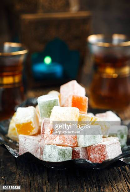 Dish of turkish delight sweets