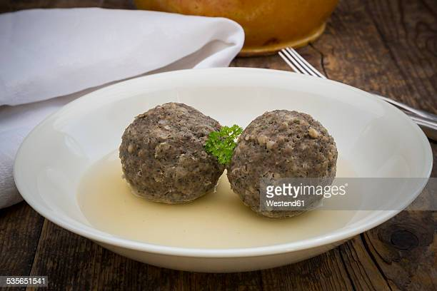 Dish of two liver dumplings