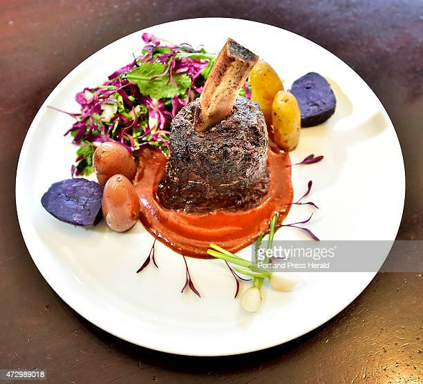 A dish prepared with the Sous Vide method of cooking by chef Anthony St Peter Plate includes French Tide Short Rib Sous Vide Pandori Chai Tea...