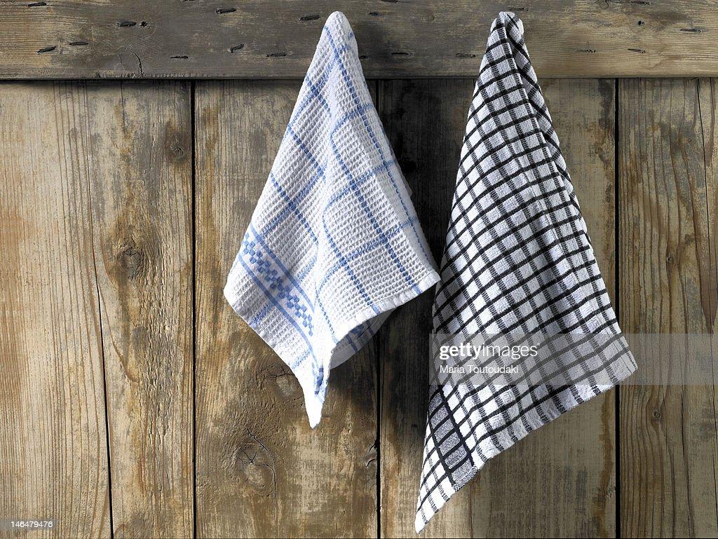 Dishcloths hanging : Stock Photo