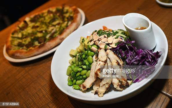 dishes are displayed at a california pizza kitchen restaurant during