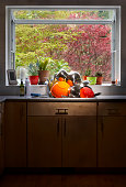Dishes piled in kitchen worktop
