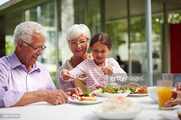 Dishing up for Grandma and Grandpa