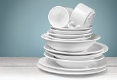 Clean plates and cups isolated on background