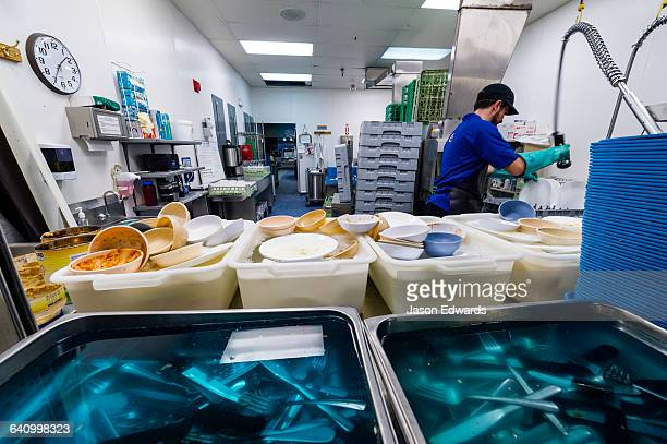 A dishwasher cleans utensils in an Antarctic base kitchen after Thanksgiving.