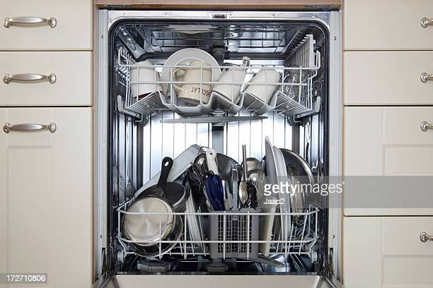 A dishwasher full of dirty dishes