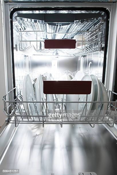 Dishwasher in kitchen with dirty dishes