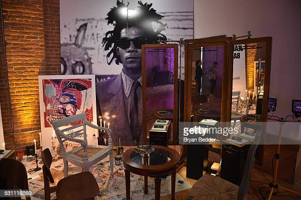 Dislplays showing sunglasses and art at the launch of the JeanMichel Basquiat for Etnia Barcelona Collection on May 12 2016 in Brooklyn New York