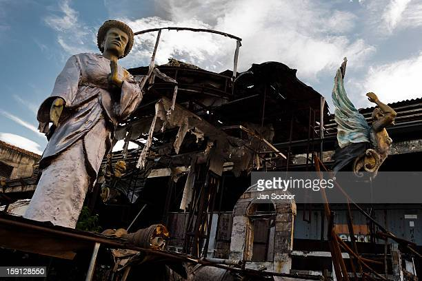 A dismantled and damaged carnival float abandoned on the work yard behind the Samba school workshops in Rio de Janeiro Brazil 15 February 2012 Most...