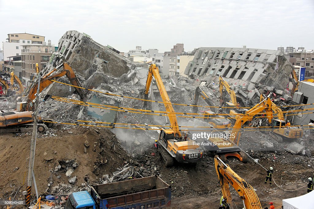 Dismantling work of the collapsed building continues on February 10, 2016 in Tainan, Taiwan. A strong magnitude 6.4 earthquake hit Southern Taiwan on February 6, killing at least 46 people and 94 unaccounted for.