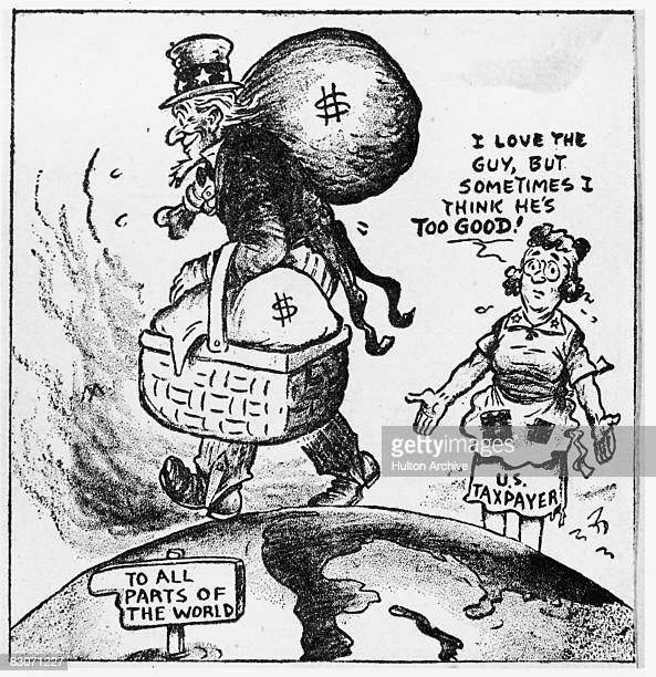 A dismayed US taxpayer watches Uncle Sam head off laden with dollars to alleviate Britain's financial crisis 17th July 1949 A cartoon by Brett in the...