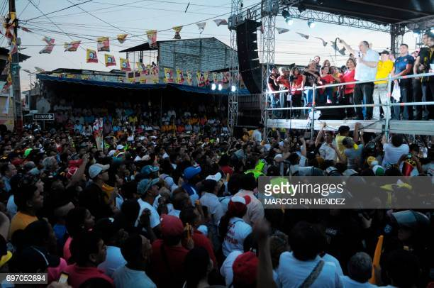 Dismissed Ecuadorean president Abdala Bucaram speaks during a political rally after 20 years of exile in Panama in Guayaquil Ecuador on June 17 2107...