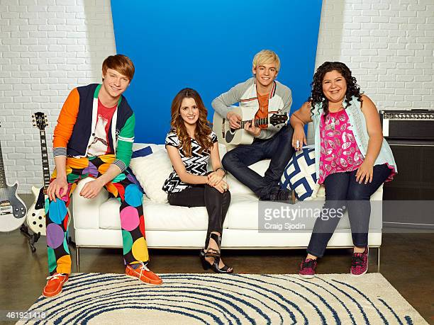 AUSTIN ALLY Disney Channel's 'Austin Ally' stars Calum Worthy as Dez Laura Marano as Ally Ross Lynch as Austin and Raini Rodriguez as Trish