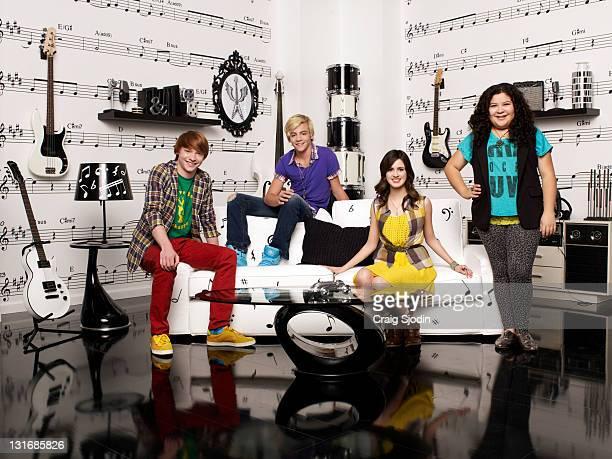 AUSTIN ALLY Disney Channel's 'Austin Ally' stars Calum Worthy as Dez Ross Lynch as Austin Laura Marano as Ally and Raini Rodriguez as Trish