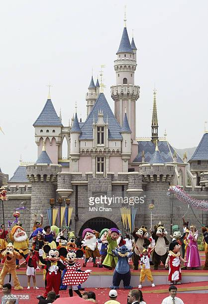 Disney characters are seen at the opening ceremony of Hong Kong Disneyland September 12 2005 in Hong Kong