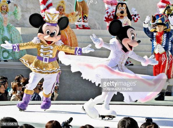 Disney characters Mickey and Minnie Mouse put on an ice skating performance in the motif of Chaikovski's ballet 'The Nutcracker' at Tokyo DisneySea...