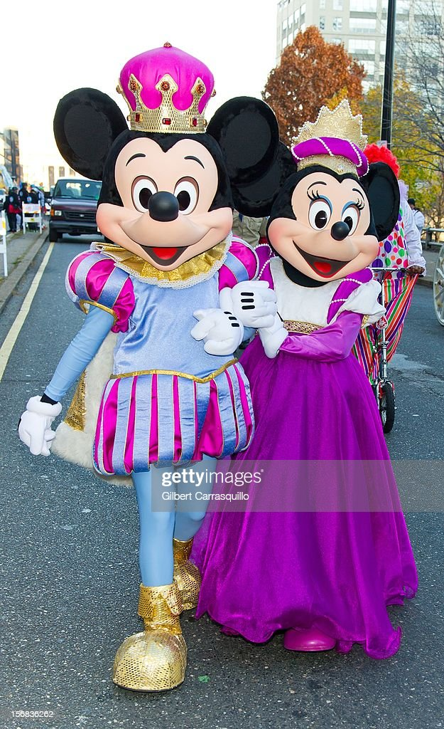Disney characters Mickey Mouse and Minnie Mouse attend the 93rd annual Dunkin' Donuts Thanksgiving Day Parade on November 22, 2012 in Philadelphia, Pennsylvania.